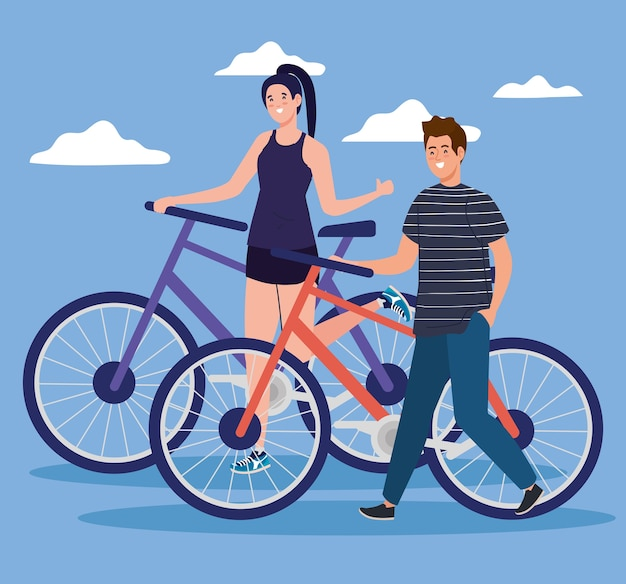 Frau und mann, die fahrrad vor wolkenentwurf, fahrzeugfahrradzyklus und lebensstilthema reiten