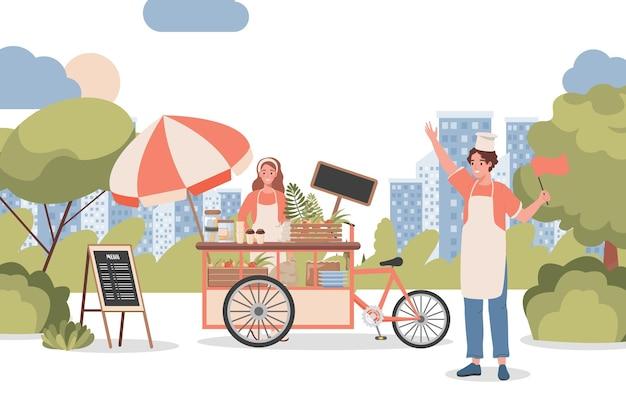 Frau und mann, die kaffee und andere getränke im stadtpark verkaufen