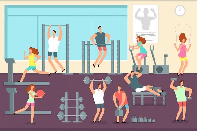 Frau und mann, die verschiedene sportübungen in der turnhalle tun. fitness-indoor-training-vektor-konzept