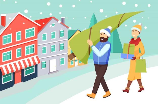 Frau und mann, die vom weihnachtseinkaufen zurückkommen