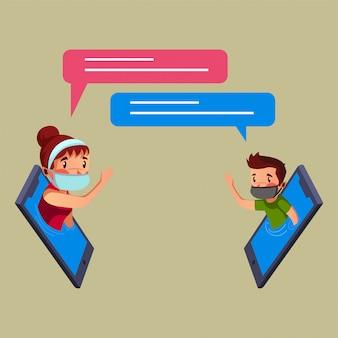 Frau und mann führen während der pandemie online-gespräche