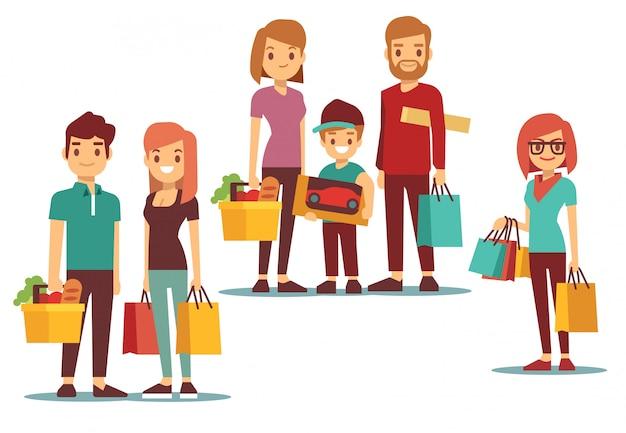 Frau und mann gehen einkaufen