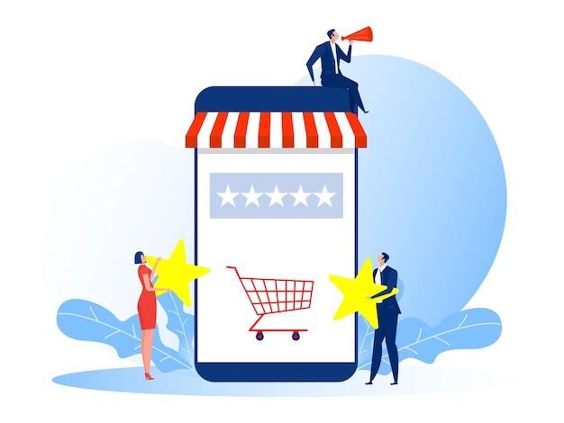 Frau und mann halten sterne bewertung für abstimmung shop shop geschäftsillustration