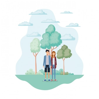 Frau und mann im park