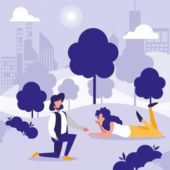 Frau und mann im parkvektordesign