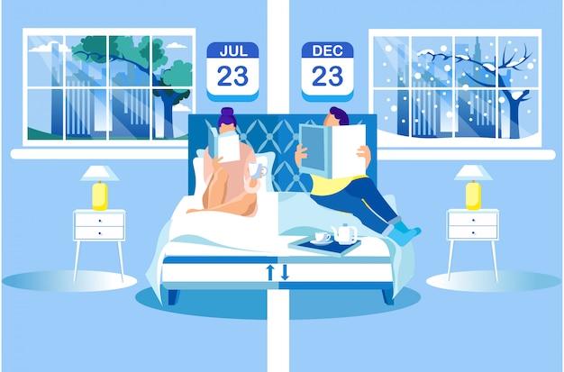 Frau und mann lasen bücher über orthopädische matratze.