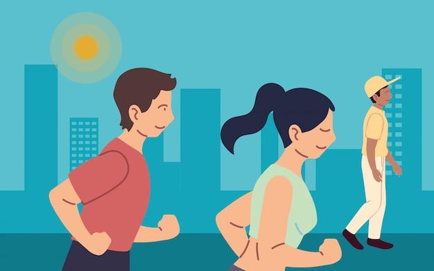 Frau und mann laufen am stadtdesign, bleiben gesunder sport und outdoor-aktivität
