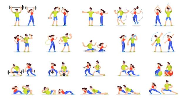 Frau und mann machen verschiedene sportübungssätze