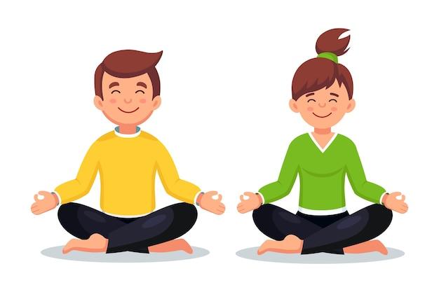 Frau und mann machen yoga. yogi sitzt in padmasana lotus pose, meditiert, entspannt, beruhigt sich und geht mit stress um. cartoon design