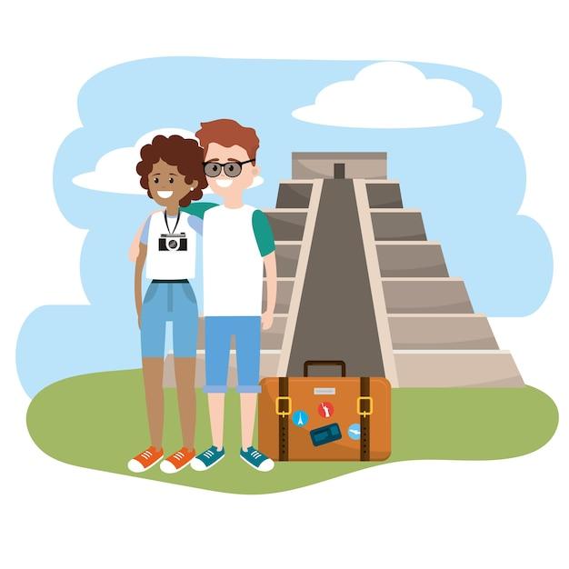 Frau und mann mit aktentasche reisen