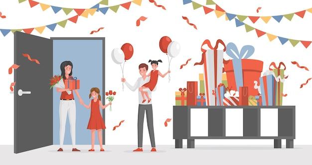 Frau und mann mit blumen und luftballons