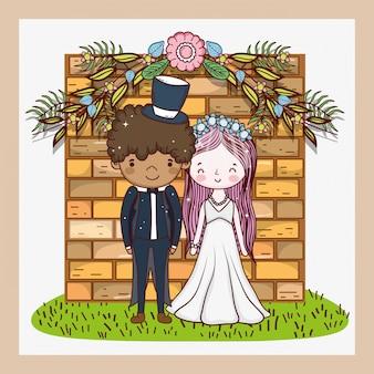 Frau und mann mit blumenpflanzenblättern