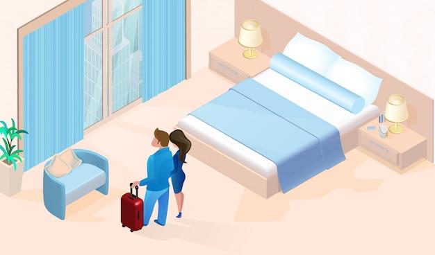 Frau und mann mit dem gepäck, das im hotelzimmer ankommt