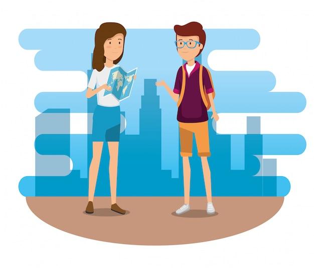 Frau und mann mit globaler karte und rucksack