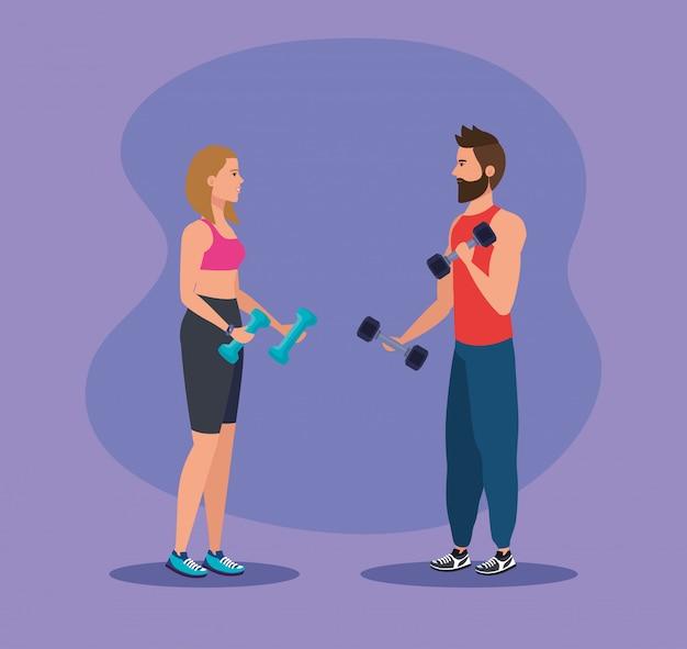 Frau und mann mit hanteln, um sport zu treiben