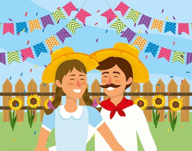 Frau und mann mit hut- und partyfahne