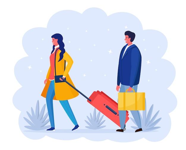 Frau und mann mit koffer gehen zum flughafen. tourist mit tasche. menschen, die in den urlaub reisen