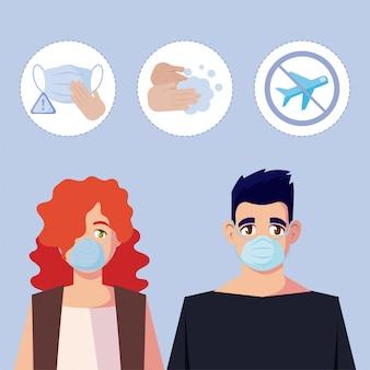 Frau und mann mit medizinischer maske und symbolsatz