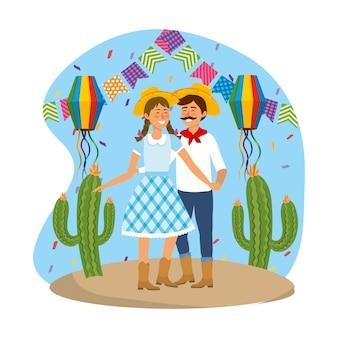 Frau und mann mit partylaternen