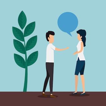 Frau und mann mit sprechblase und pflanze