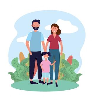 Frau und mann paar mit ihrer tochter und pflanzen