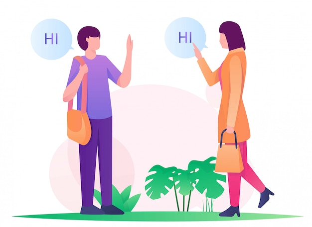 Frau und mann sagen hallo illustration flach