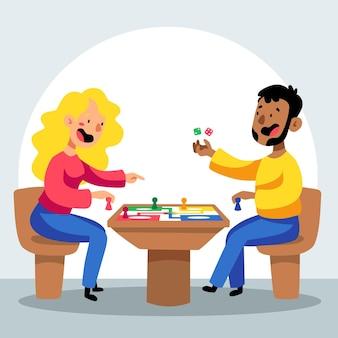 Frau und mann spielen ludo-spiel