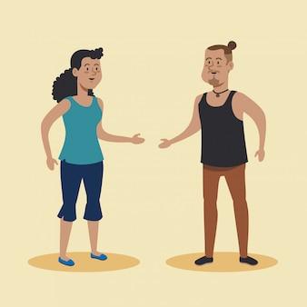 Frau und mann sprechen mit freizeitkleidung