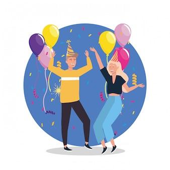Frau und mann tanzen mit konfetti und hut