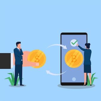 Frau und mann tauschen kryptomünzen über das telefon aus