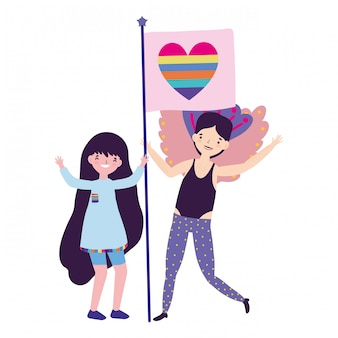 Frau und mann unterstützen lgtbi marsch
