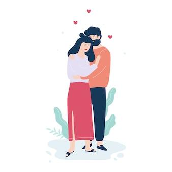 Frau und mann verliebt. paar umarmung, romantische beziehung