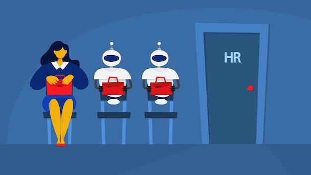 Frau und roboter warten in der warteschlange auf interview