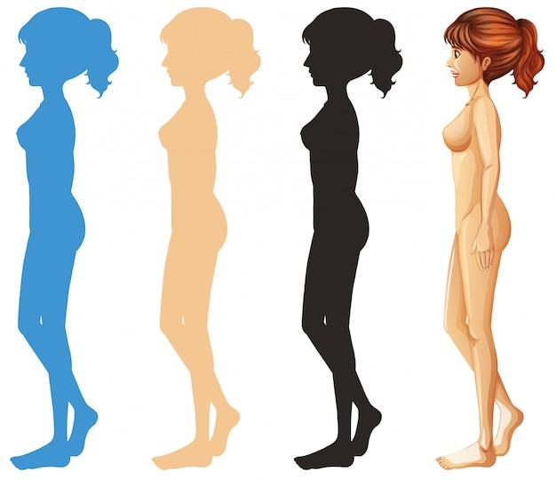Frau und unterschiedliches farbenschattenbild