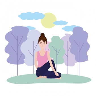 Frau und yoga