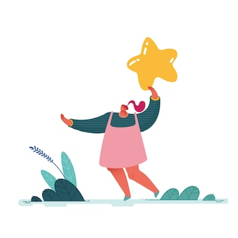 Frau verlässt fünf sterne. erfahrung und zufriedenheit der menschen, positives feedback, bewertungsarbeit, überprüfung und bewertung von produkten oder dienstleistungen. moderne wohnung