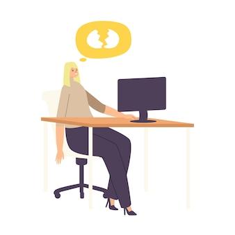 Frau verlierer löschte wichtige informationen vom computer durch fehler, dummheit. weibliche figur mit gebrochenen eiern sprechblase sitzen am arbeitsplatz vor dem laptop-bildschirm. cartoon-vektor-illustration