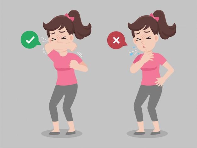 Frau verwenden ellbogenabdeckung mund vor dem niesen und nicht tun
