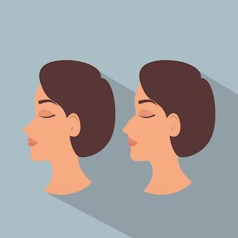 Frau vor und nach dem plastischen chirurgieprozess