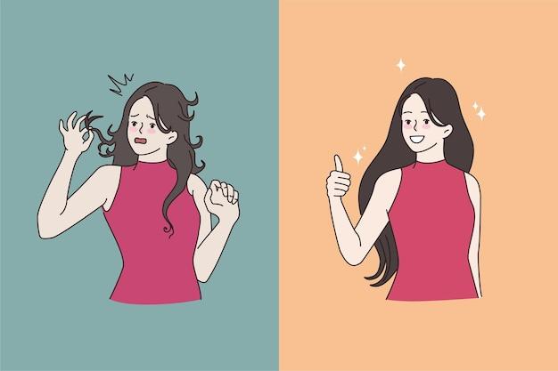 Frau vor und nach der friseurbehandlung