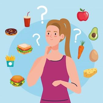 Frau wählt zwischen gesundem und ungesundem essen, fast food vs ausgewogenem menü