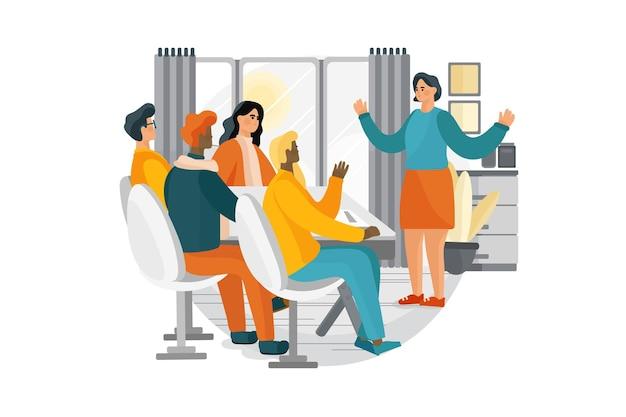 Frau während eines vorstellungsgesprächs und vier elegante mitglieder des managements