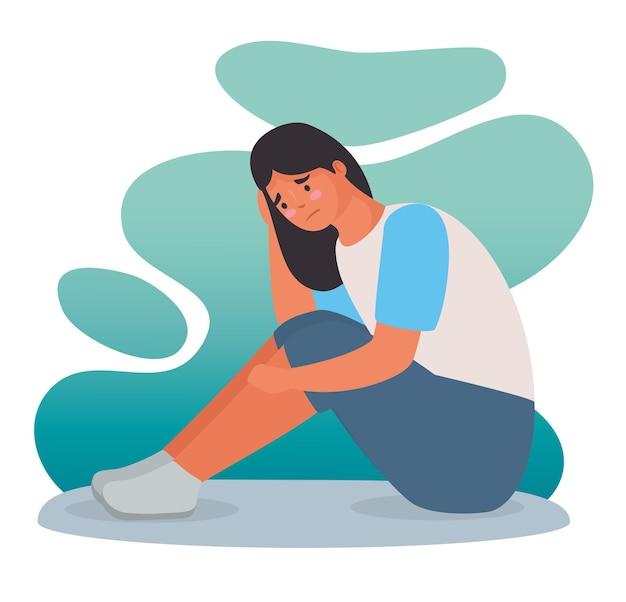 Frau wegen mobbing im sitzen gestresst