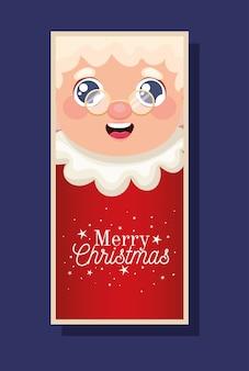 Frau weihnachtsmann mit frohe weihnachten schriftzug illustration