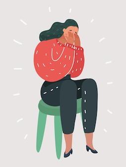 Frau weint und bedeckt ihre augen mit ihren händen
