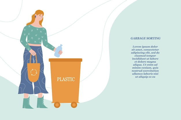 Frau wirft müll in einen speziellen behälter für plastik