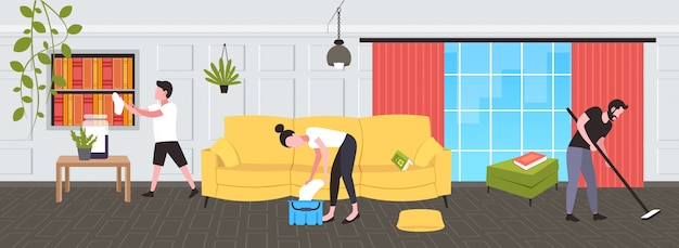Frau wringt lappen in eimer mann wischt boden junge staubt familie macht hausarbeit reinigungsservice konzept modernes wohnzimmer interieur in voller länge skizze horizontal