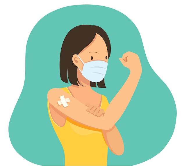 Frau zeigt geimpftes impfkonzept