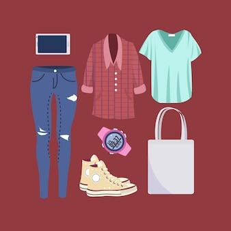 Frau zufällige outfits-kollektion