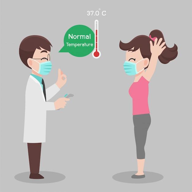 Frau zum arzt gehen, um sich selbst zu überprüfen, temperatur für corona-virus-scannen, sie ist nicht infiziert, ergebnisse ist normale temperatur